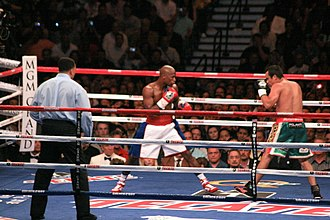 Floyd Mayweather Jr. - Mayweather during his comeback bout against Juan Manuel Márquez, 2009