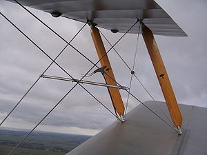 Bracing (aeronautics) - Interplane struts and bracing wires on a de Havilland Tiger Moth
