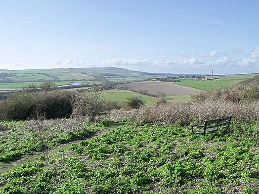 Footpath and seat on Mill Hill, Shoreham, West Sussex - geograph.org.uk - 1805370