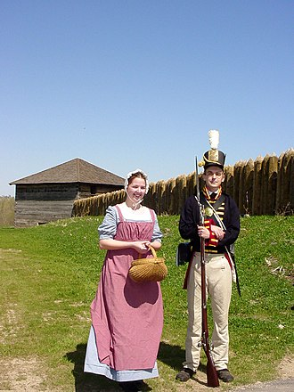 Fort Meigs - Dressed in clothing of the period, these guides at Fort Meigs Historic Site prepare to give a tour of the facility on a clear day in the summer
