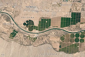 Fort Mohave, Arizona - Fort Mohave and Mesquite Creek, Arizona. Irrigated agriculture  is the major contributor to the local economy.