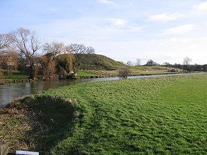 Fotheringhay Castle - The motte and site of Fotheringhay Castle seen from across the River Nene