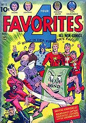 Amerika milittempa komikso reklamante la registarobligaciiniciaton kun superherooj subtretantaj Mussolini, Hitler kaj Hirohiton