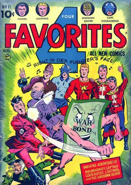 American wartime comic book advertising the government bond drive with super heroes trampling Mussolini, Hitler and Hirohito
