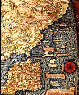 Map of the Iberian Peninsula and Northern Africa (inverted) by Fra Mauro (ca. 1450) FraMauroMapSpainPortugalNorthenAfrica.jpg
