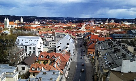 More than 50 thousand inhabitants of Vilnius today live in the central part of the city (the Old town and the New Town) on the left bank of the Neris Fragment of the Old town of Vilnius.jpg