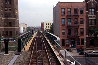 S (New York City Subway service) - The single-tracked portion of the BMT Franklin Avenue Line near the Park Place station