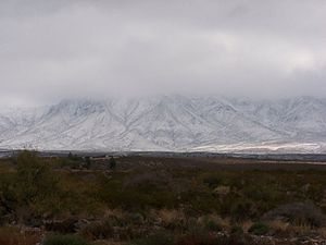 English: Snow on the Franklin Mountains State ...
