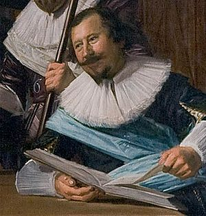 Hendrik Gerritsz Pot - Portrait of Hendrik Gerritsz Pot by Frans Hals, detail of The Officers of the St Adrian Militia Company in 1633