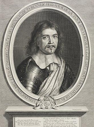 Battle of La Marfée - Frédéric-Maurice de la Tour d'Auvergne, Duc de Bouillon. Engraving by Robert Nanteuil.