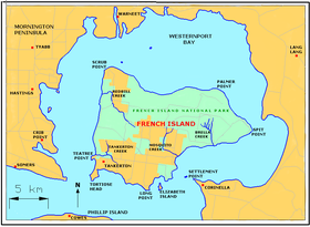 Carte de French Island.