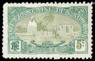 Postage stamps and postal history of Djibouti - The Tadjoura Mosque on a 1909 stamp of the French Somali Coast.