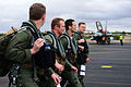 From foreground; U.S. Air Force Capt. Aaron Schuett, Capt. Cody Clark, Maj. Jason Bianchi and Capt. Robert Hendrick, all F-15C Eagle aircraft pilots with the 493rd Fighter Squadron, head to their aircraft before 130118-F-BH151-072.jpg