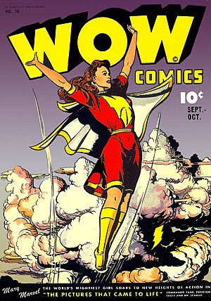 "Superhero comics - Image: Front cover, ""Wow Comics"" no. 38 (art by Jack Binder)"