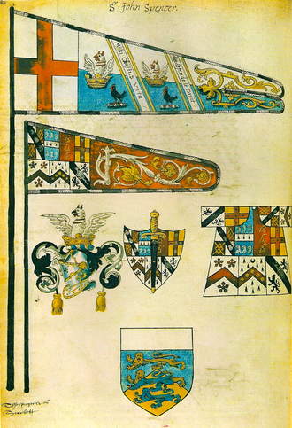 John Spencer (died 1600) - The funeral honours of Sir John Spencer, Kt. (1546–1600). He displays both the Despencer arms (differenced as a cadet branch) adopted after c. 1595 and the blue and white arms granted in 1504.