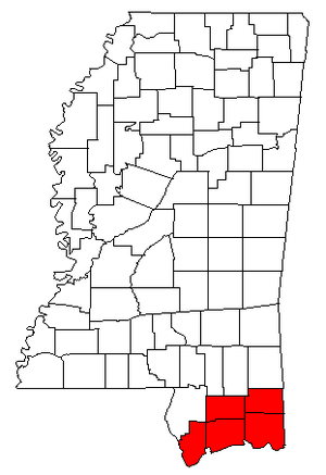Gulfport-Biloxi-Pascagoula CSA - Map of Mississippi highlighting the Gulfport-Biloxi-Pascagoula combined statistical area.