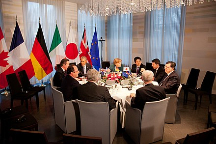G7 leaders during the 2014 emergency meeting about the Russian annexation of Crimea, hosted by the Netherlands G7 in het Catshuis.jpg