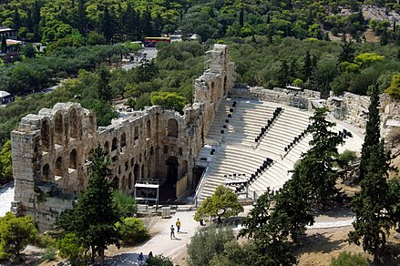The Odeon of Herodes Atticus in Athens, built in 161 AD GR-acropolis-herodes-odeon.jpg