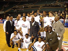 The Colonials celebrate the 2007 Atlantic 10 Tournament Championship.