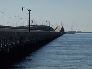 Unused highway - The 1956 span of the Gandy Bridge between Tampa and St. Petersburg was closed to traffic in 1997 and used as a recreational trail from 1999 until 2008, when it was closed for safety reasons. It remained in place as officials decided between demolition or renovation. In 2015, demolition of the unused bridge began.