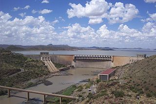 Gariep Dam Dam in Border of Eastern Cape and Free State, South Africa