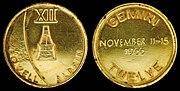 Gemini 12 Flown Fliteline Gold-Plated Sterling Silver Medallion
