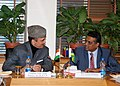 Ghulam Nabi Azad and the Minister of Health and Quality of Life, Republic of Mauritius, Mr. Lormus Bundhoo, discussing bilateral issues on Health, in New Delhi on January 14, 2013.jpg