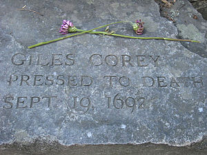 Giles Corey - Memorial marker in Salem, Massachusetts