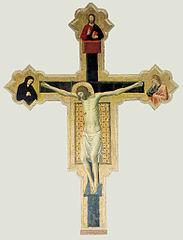 Crucifix peint de Giovanni da Rimini de Mercatello sul Metauro