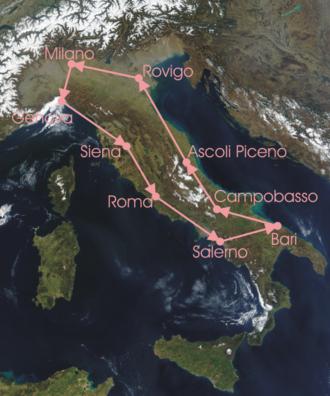1913 Giro d'Italia - Race Route