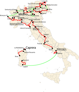 2007 Giro d'Italia - Overview of the stages:  route from Caprera, in Sardinia, to Milan covered by the riders on the bicycle (red)  and distances between stages (green).