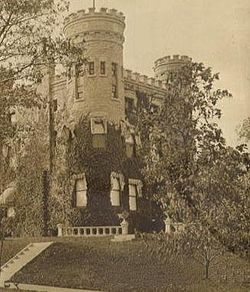 "The residence of developer Robert G.Givens (1886), 10244 S. Longwood Drive. ""The Castle"", shown here in a period photograph, has become the symbol of the Beverly neighborhood and has been the home of the Beverly Unitarian Church since 1942."
