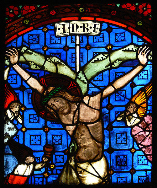 File:Glasfenster aus Minoritenkirche Regensburg Kreuzigung.jpg