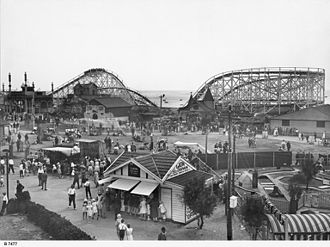 Glenelg, South Australia - Colley Reserve and the newly opened (in 1930) Luna Park on the foreshore at Glenelg