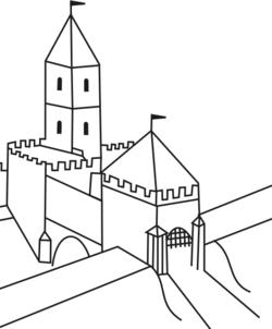 Gliwice - Szkic wygl�du bramy miejskiej i fosy w okresie od XVI do XVIII wieku.