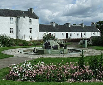 Blantyre, South Lanarkshire - Image: Globe fountain and Shuttle Row geograph.org.uk 894647