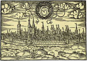 Principality of Göttingen - H. Bünting: Göttingen from the west, woodcut, 1585