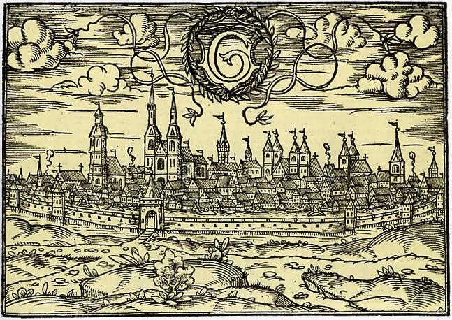 Goettingen - Ansicht der Stadt von Westen (1585)