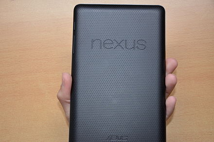 The rear of the Nexus 7 features a dimpled plastic surface with a grippy texture. The tablet's build quality was praised by critics.[10]