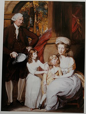 Francis William Drake - Gouache and pastel over pencil of Drake and wife, Elizabeth Heathcote, and their two daughters, Sophia and Marianne, by Daniel Gardner (1750–1805).