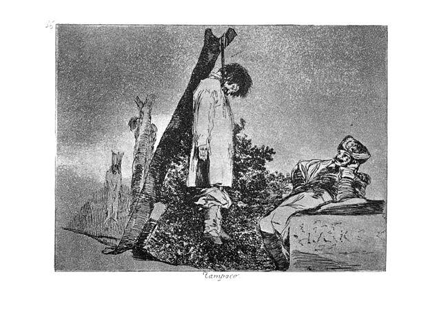 Ahorcamiento. Grabado de Goya 'Tampoco'.