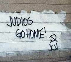 Graffiti On The Wall Of The Israeli Embassy In Caracas Saying Jews Judios Go Home And Signed By The Jcv