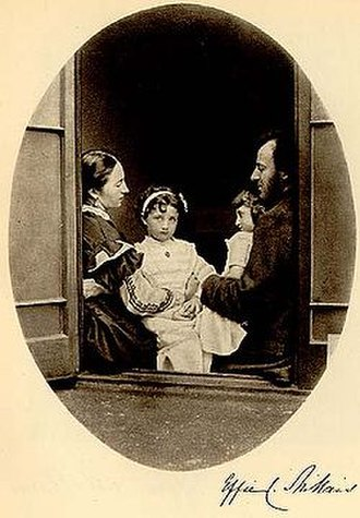 "Effie Gray - Albumen print photograph by Lewis Carroll from 21 July 1865 depicting Effie Gray, John Everett Millais, and their daughters Effie and Mary at 7 Cromwell Place, signed ""Effie C. Millais""."