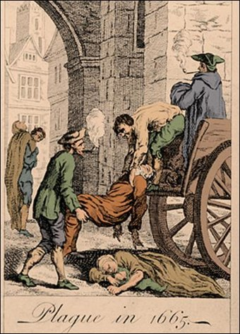 The Great Plague of London, in 1665, killed up to 100,000 people. Great plague of london-1665.jpg