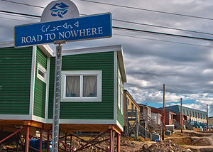Green house on stilts in Iqaluit