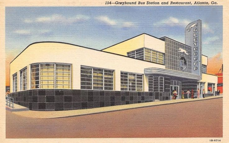 Greyhound Bus Station and Restaurant, Atlanta Georgia, c. 1940 Postcard