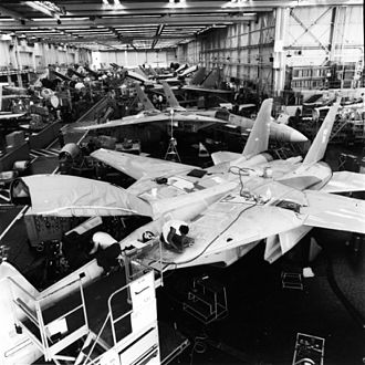 Naval Weapons Industrial Reserve Plant, Calverton - Line of production of the F-14A Tomcat in 1986.