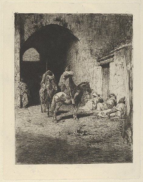 File:Guards on horseback at the entrance to the Kasbah in Tetuan, figures sitting on the ground MET DP854198.jpg