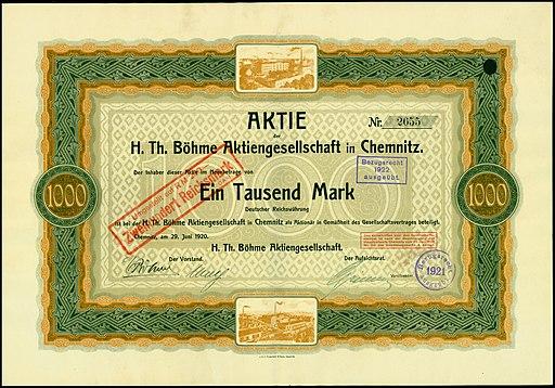 Aktie H. Th. Böhme AG 1920