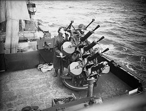 Vickers .50 machine gun - A four-gun, naval anti-aircraft mounting, on board the destroyer HMS ''Vanity'' (1940)